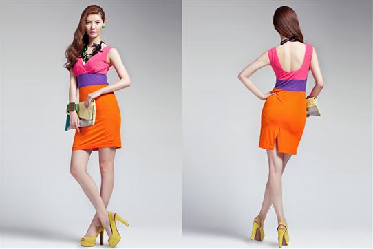 Đầm Neon phối 3 màu-