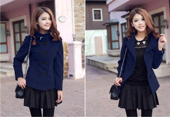 Áo khoác thu đông màu xanh đen-