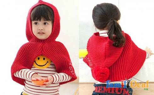 Áo choàng len có nón cho bé - Sản phẩm cho bé