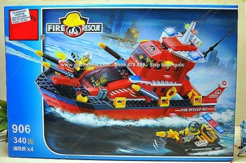 Giá Hot Nhất - HOP RAP LON 340 MIENG DANG LEGO TAU CUU HOA PHUN NUOC - (MS: 9045)