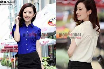 Giá Hot Nhất - AO SO MI TAY NGAN BUP SEN - Ms 3047 - Phong cach Han Quoc kieu dang moi la dang yeu