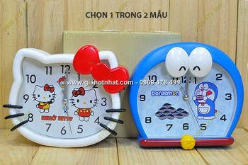 Giá Hot Nhất - DONG HO BAO THUC DOREAMON / KITTY CO LON (Ma so 6501) - Thiet ke hinh dang doc dao va de thuong
