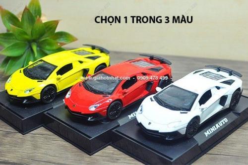 Giá Hot Nhất - XE MO HINH SAT TI LE 1/32 SIEU XE LAMBORGHINI AVENTADOR SV - Miniauto (Ma so 9750)
