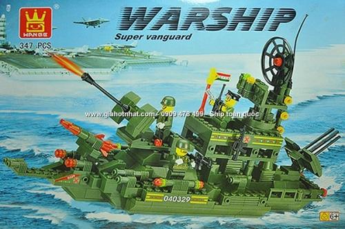 Giá Hot Nhất - MS: 9384 - HOP RAP HINH KIEU LEGO TAU CHIEN QUAN SU 347 MIENG