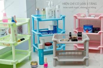 Giá Hot Nhất - MS: 6360 - KE NHUA 3 TANG MINI HINH CHU NHAT - Sap Xep Vat Dung Gon Gang