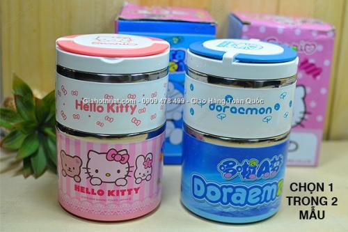 Giá Hot Nhất - MS 6396 - HOP COM GiU NHIET 2 NGAN DE THUONG DOREAMON/ HELLO KITTY.