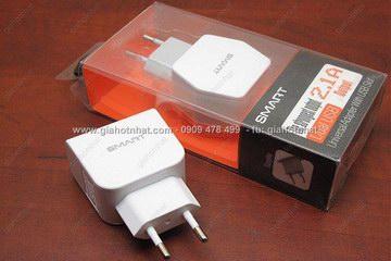 MS : 5195 - CỐC SẠC SMART 2 CỔNG USB 1A-2A