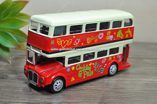 Giá Hot Nhất - (MS: 9582) - XE MO HINH SAT TI LE 1/50 - XE BUS 2 TANG ENGLISH COOKIES