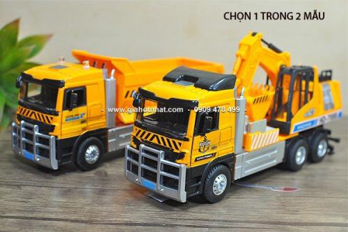 Giá Hot Nhất - (MS: 9587 - 9588) - XE MO HINH TI LE 1/32 - 22CM XE TAI CONG TRINH (VANG)