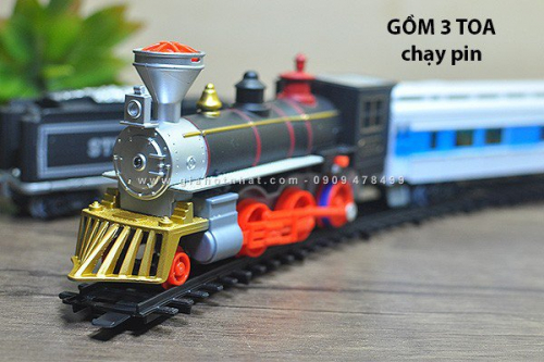Giá Hot Nhất - MS: 9037 - DO CHOI XE LUA RAILWAY EXPRESS 3 TOA CHAY PIN