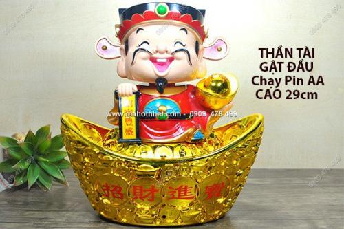 Giá Hot Nhất - MS: 6520 - THAN TAI MAY MAN GAT DAU SIZE LON - 28CM NGOI THOI VANG THUYEN - CHAY PIN