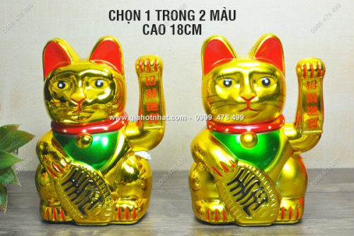 Giá Hot Nhất - MS: 6531 - MEO MAY MAN MANEKI NEKO CHAY PIN CHON CO 18CM