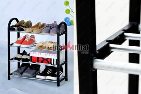 Kệ giày dép lắp ráp 4 tầng có sức chứa lên tới 15 đến 18 đôi giày dép các...