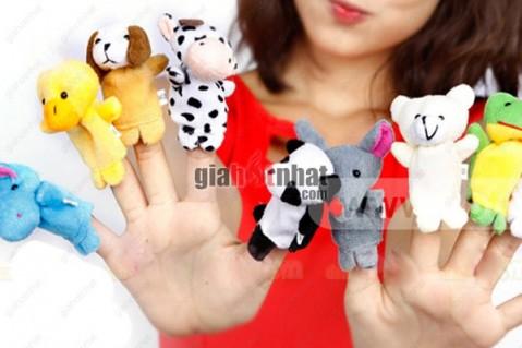 Bộ 10 con rối ngón tay vui nhộn bằng vải bông gồm thỏ, gấu trúc, hà mã, bò...
