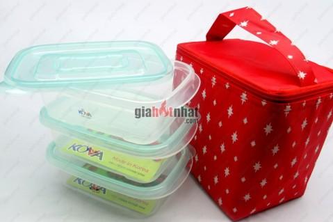 Bộ 3 hộp nhựa Hàn Quốc kèm túi giữ nhiệt tiện dụng, có thể sử dụng để...