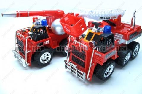 Xe cứu hỏa loại lớn 6 bánh với đèn nhấp nháy và còi âm thanh ấn tượng