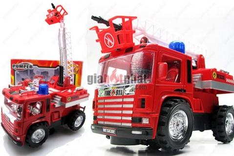 Xe cứu hỏa loại trung đẹp mắt với đèn nhấp nháy và âm thanh ấn tượng