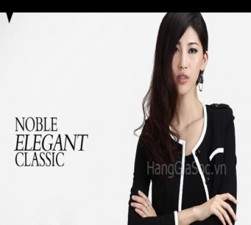 N653 :Áo khoác đen viền t...