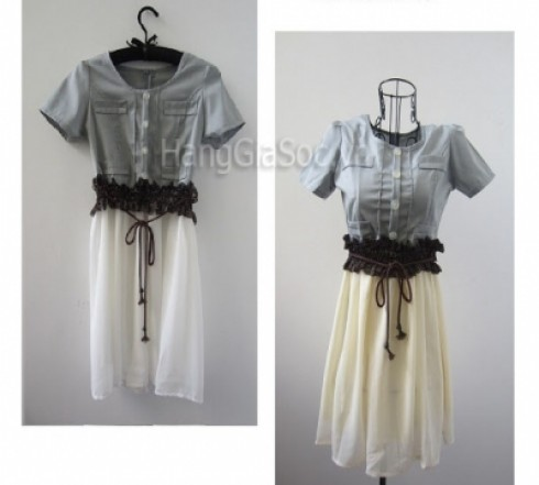 N650 :Đầm xòe Denim phối...