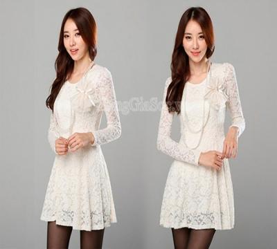 N992 :Đầm ren trắng thời...