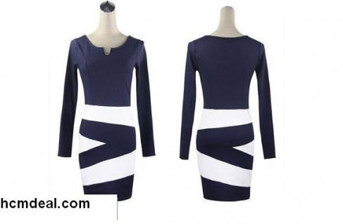 Đầm cổ chữ V mix color