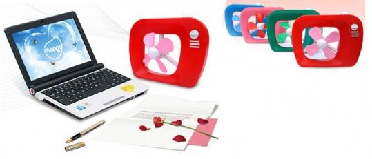 Quạt USB mini hình Tivi (kèm pin)