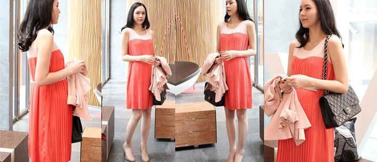 Váy voan bầu phong cách Korea XD 1202