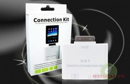 Chia Sẻ Dữ Liệu, Hình Ảnh Từ Bộ Nhớ Ngoài Vào Trong iPad Thật Dễ Dàng Với Bộ Kết Nối Connection Kit 5 In 1. Giá 198.000 VNĐ, Còn 99.000 VNĐ, Giảm 50%.
