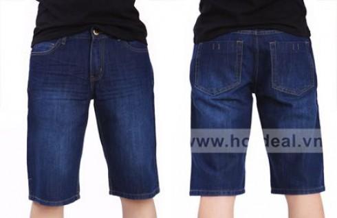Trẻ Trung, Năng Động Và Nam Tính Với Quần Short Jeans Xanh Đậm. Giá 210.000 VNĐ, Còn 125.000 VNĐ, Giảm 40%.