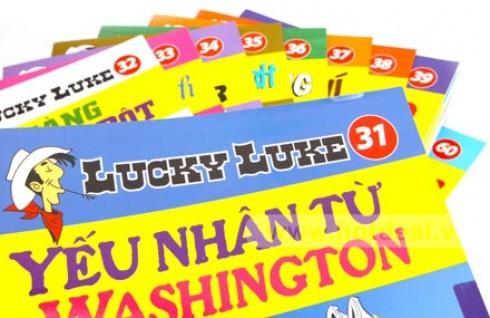 """Cùng Chàng Cao Bồi Lucky Luke Khám Phá Và Chinh Phục Miền Viễn Tây Nước Mỹ Với 1 Trong 3 Combo Sách """"Lucky Luke"""" Từ Tập 31 - 60. Giá 267.000 VNĐ, Còn 133.500 VNĐ, Giảm 50%."""