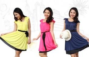 Duyên Dáng Và Nữ Tính Với Váy Thun Tay Lửng - Kiểu Dáng Váy Xòe, Cổ Tròn Xinh Xắn. Giá 210.000 VNĐ, Còn 115.000 VNĐ, Giảm 45%.