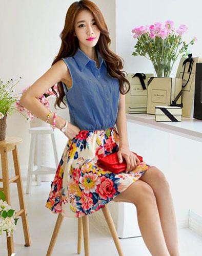 Đầm Denim Chân Váy Voan Hoa