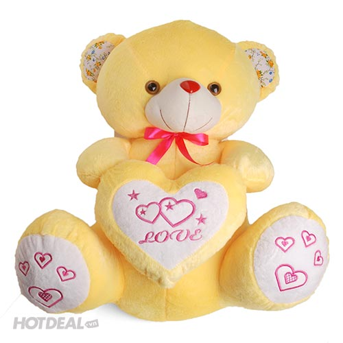 Gấu Bông Trái Tim Lớn Thêu Tay