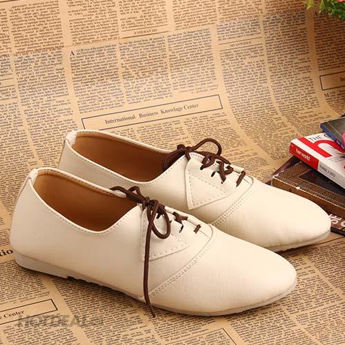 Giày Nữ Khải Nam Kiểu Dáng Oxford – Màu Kem