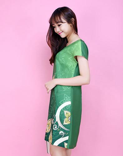Đầm Xuân In 3D Hoa Sen Cao Cấp