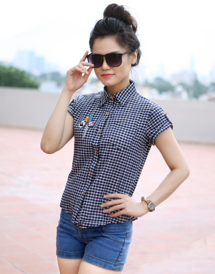 Hot Deal - Ao So Mi Nu Caro Tay Ngan Ca Tinh