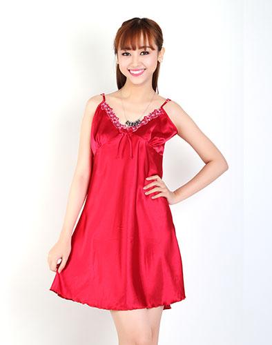Đầm Mặc Nhà Satin Viền Ren