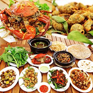 Hot Deal - Set 4 Mon Hai San Cho 4 Nguoi An Tai Quan Oc Ken