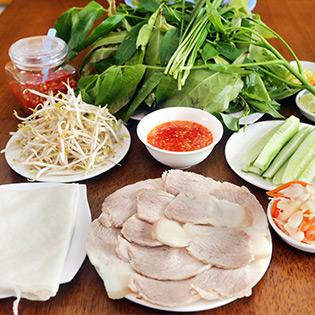Hot Deal - Banh Trang Phoi Suong Cuon Thit Luoc Cho 2 Nguoi Tai Co Ba Trang Bang