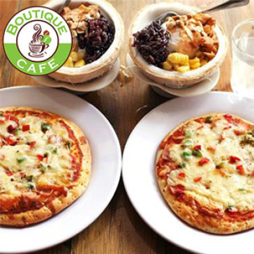 Hot Deal - Combo 2 Kem Xoi Dua/ Pizza + 02 Ly Kem Bo Hap Dan Nhat Sai Gon - Boutique Cafe