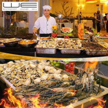 Hot Deal - Thoa Thich Thuong Thuc Buffet Toi, Tom, Cua Cung Nhieu Loai Hai San Nuong Khong Gioi Han Tai Nha Hang We
