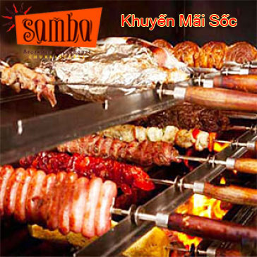Hot Deal - Km Soc : Buffet Thit Nuong An Thoa Thich, Free Kem + Hong Tra Tai Samba Brazilian