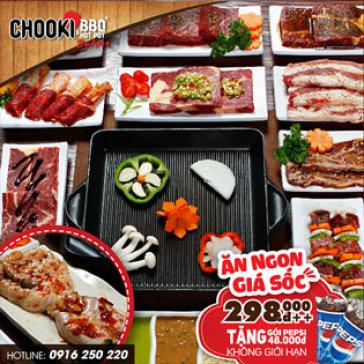Hot Deal - He Thong Buffet Chooki BBQ & Hotpot Tang Pepsi Uong Khong Gioi Han