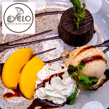 Hot Deal - Combo Kem Tra Dao & Banh Lava Cake Dang Cap 5* Tai Cyclo Coffee & Ice Cream
