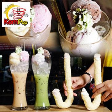 Hot Deal - Combo 02 Kem Ong Han Quoc + 02 Ly Tra Sua Tai Kem Pop
