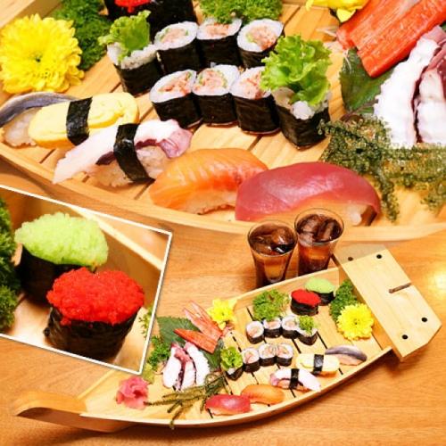Set Sashimi, Sushi, Maki, Ebiko, Tuna Mayo, Nước Uống Dành Cho 2 Người Tại Haha Sushi