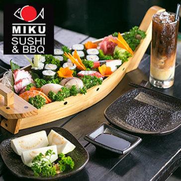Hot Deal - Set Sashimi, Sushi, Maki Va Nuoc Uong Cho 2 Nguoi Tai Miku Sushi