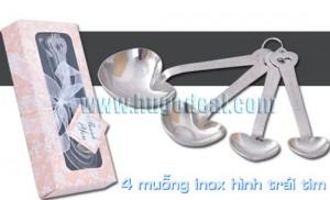 Combo 04 muỗng hình tim inox