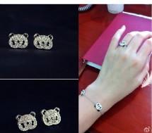 Hoa tai + nhẫn panda - 1 - Thời Trang và Phụ Kiện