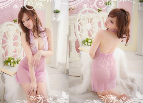 Đầm ngủ ren hồng